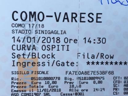 Biglietto per Como-Varese
